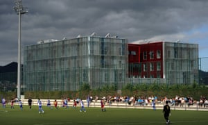 Barcelona youth players take on their Espanyol counterparts in the shadow of La Masia 2.0, the latest incarnation of the club's famed academy