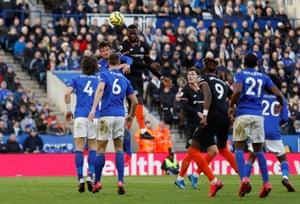 Chelsea's Antonio Rudiger scores their second goal.