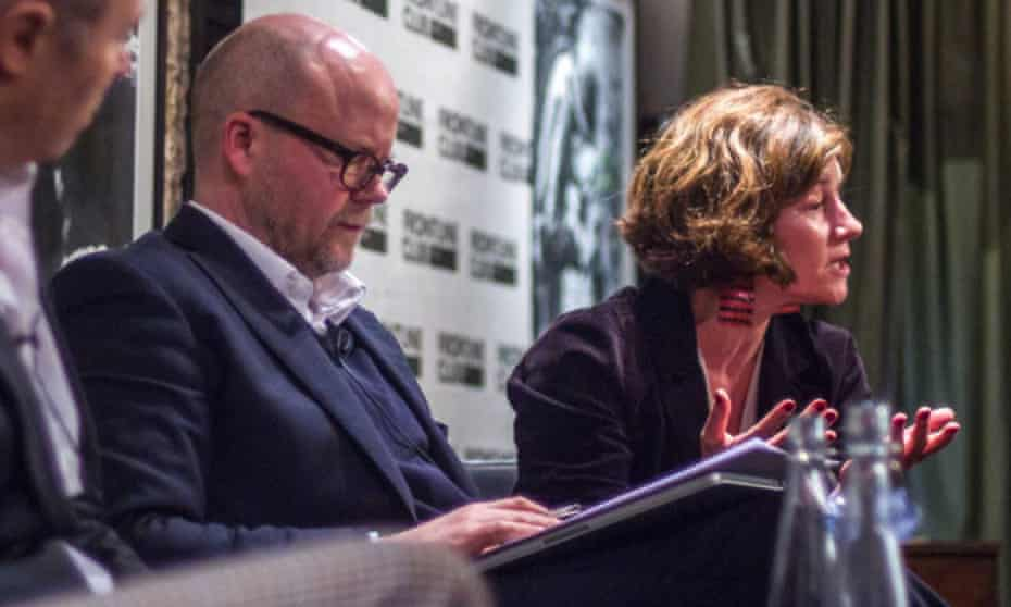 The Spectator's Toby Young taking part in a Frontline Club debate with the Guardian's Natalie Nougayrède.