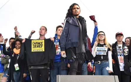 Jennifer Hudson performs onstage with students at March For Our Lives on March 24, 2018 in Washington, DC