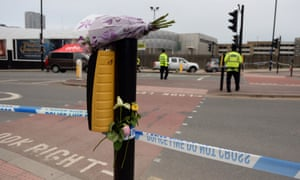 Flowers outside Manchester Arena