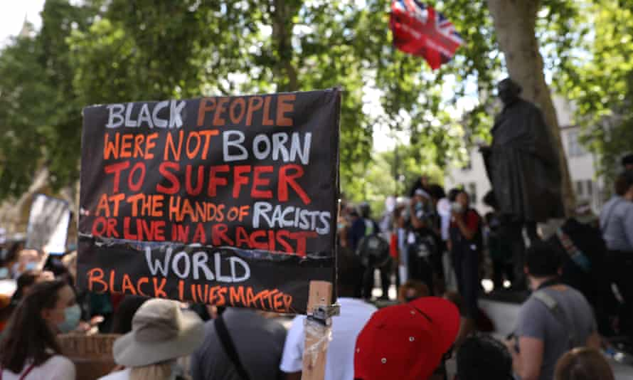 Protesters from a Black Lives Matter rally gather at Parliament Square in London last July.