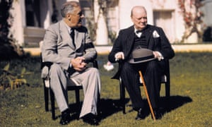Franklin D Roosevelt and Winston Churchill at the Casablanca conference in 1943.