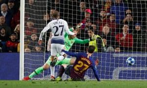 Lucas Moura prods the ball home.