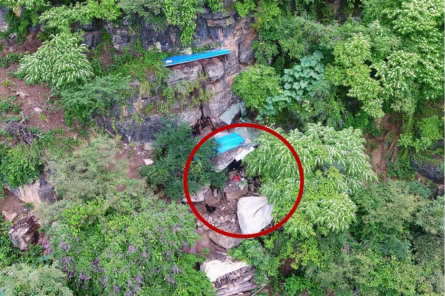 An image taken by the drone of Moujiang's makeshift dwelling.