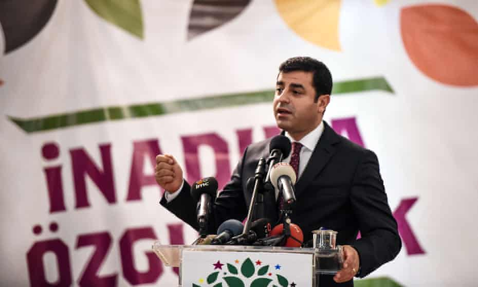 Selahattin Demirtaş, gives a speech during the election campaign, in Istanbul.
