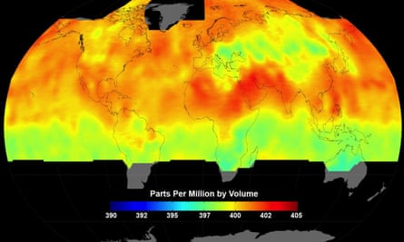 Global average carbon dioxide concentrations as seen by Nasa's Orbiting Carbon Observatory-2 mission, June 1-15, 2015.