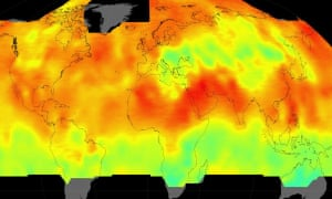 Global average carbon dioxide concentrations as seen by a Nasa satellite