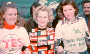 Margaret Thatcher at a pro-European rally in London before the EEC referendum in 1975.