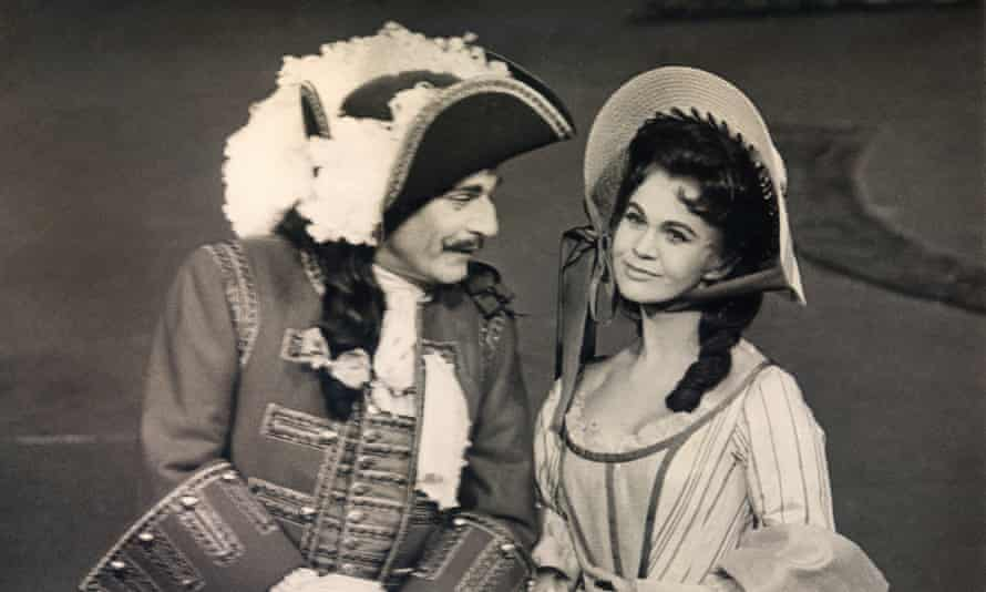 Mary Miller and Laurence Olivier in the National Theatre production of The Recruiting Officer at the Old Vic, 1963