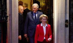 Ursula von der Leyen and Michel Barnier leaving No 10 after their meeting with Boris Johnson.
