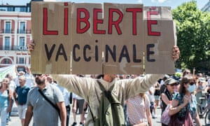 An anti-vaccine protest in Toulouse, France on Saturday.