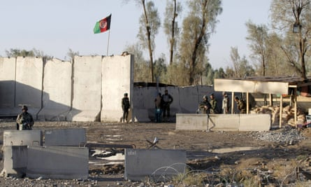 Afghan security forces  at the entrance of Kandahar airport