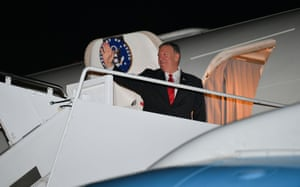 US Secretary of State Mike Pompeo waves before boarding his plane departing from Andrews Air Force Base last night.