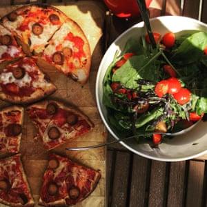 Homemade vegan pizza.