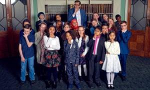 Child Genius contestants with presenter Richard Osman