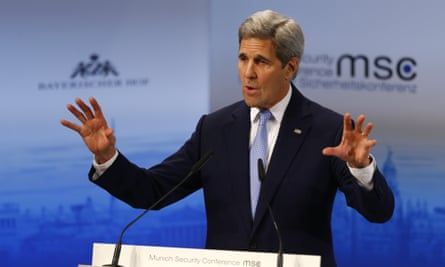 The US secretary of state, John Kerry, gestures during his speech at the Security Conference in Munich, Germany, on Saturday.