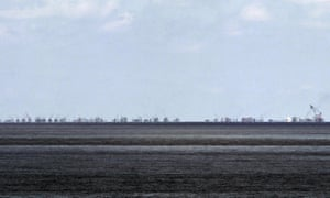 The alleged ongoing land reclamation of China at Subi reef is seen from Pagasa island (Thitu Island) in the Spratlys group of islands in the South China Sea.