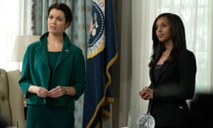 Bellamy Young as Mellie Grant and Kerry Washington as Olivia Pope in Scandal.