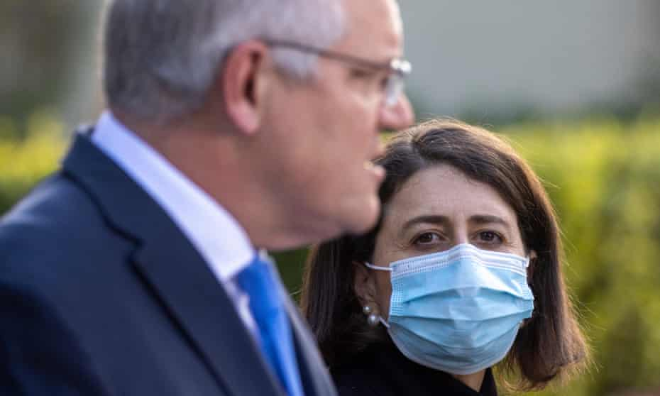 Prime minister Scott Morrison and NSW premier Gladys Berejiklian at a press conference at Kirribilli House on 13 July