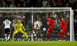 Liverpool's Ragnar Klavan, second right, opens the scoring.
