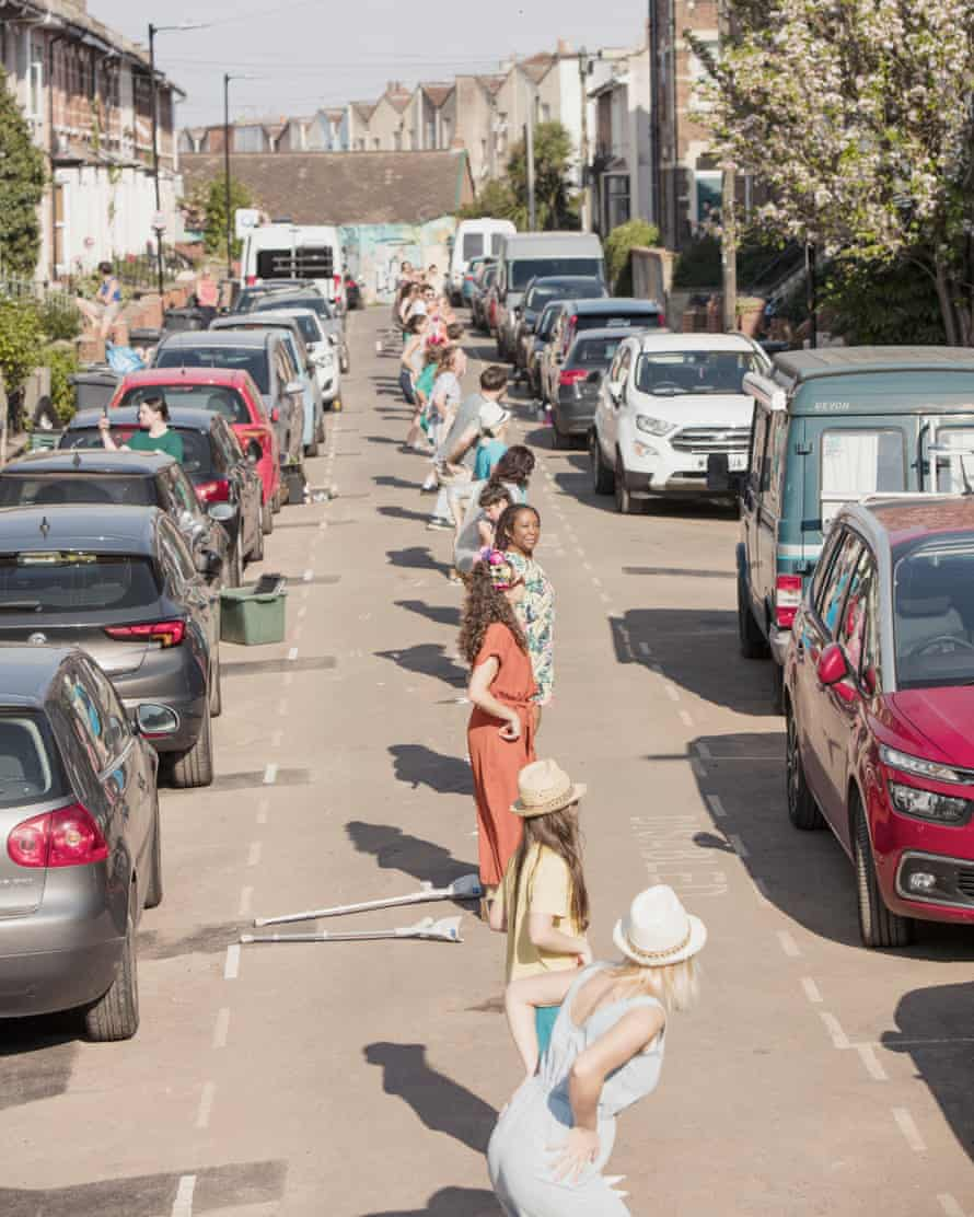 Residents do the Macarena in a line right down the middle of Banner Road in Bristol.