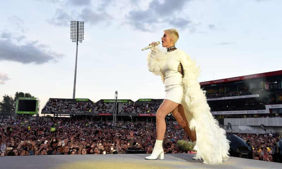 'Don't let them win': Perry performing at the One Love Manchester benefit concert at Old Trafford on 4 June.