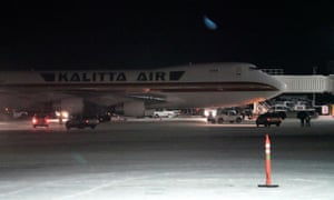 A plane, chartered by the US state department to evacuate Americans from Wuhan, arrives in Anchorage, Alaska.