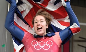A jubilant Lizzy Yarnold celebrates winning gold in the women's Skeleton at the Alpensia Sliding Centre.