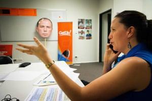 Get Up volunteer Lucy Graham calls voters in Peter Dutton's seat of Dickson.