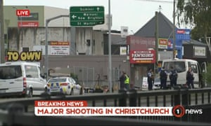 A screengrab from New Zealand TV shows police officers cordoning off the area near a mosque following a shooting in Christchurch.