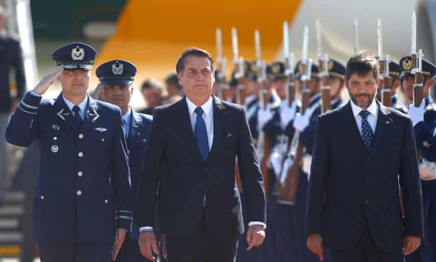 Jair Bolsonaro arrives at Arturo Merino Benitez international airport in Santiago, Chile, 21 March 2019.