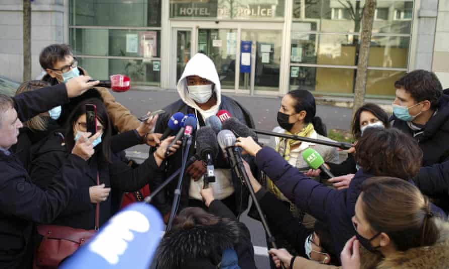 Michel speaks outside the Inspectorate General of the National Police, IGPN, in Paris, on Thursday.