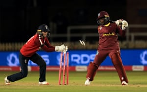England's Amy Jones stumps West Indies' Lee-Ann Kirby.