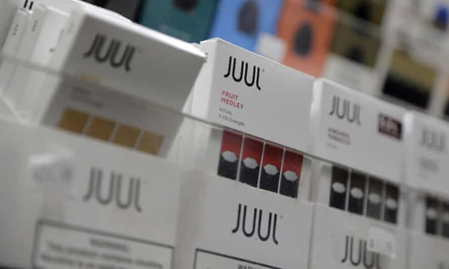 Juul products displayed at a smoke shop in New York in 2018.