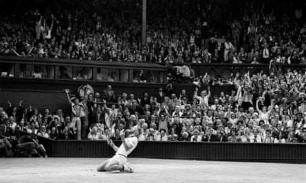 Bjorn Borg drops to his knees after defeating John McEnroe to become men's singles champion at Wimbledon for a fifth successive year.
