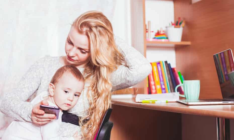 mother with child texting