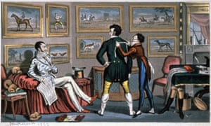 English dandies at the tailor's shop. Engraving by George Cruikshank, 1823.