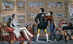 English dandies at the tailor's, engraving by George Cruikshank, 1823.