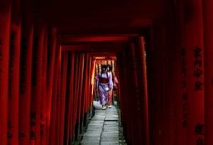 Women dressed in yukata, casual summer kimonos, walk through torii gates at the Nezu shrine, Tokyo, Japan