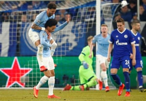 Manchester City's Leroy Sane celebrates scoring their second goal with Kyle Walker.