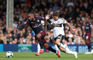 Arsenal's Alexandre Lacazette leaves Fulham's Luciano Vietto before scoring a brace and helping The Gunners win 5-1 at Craven Cottage.