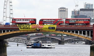 An Amnesty International banner in protest against Donald Trump's state visit to the UK.