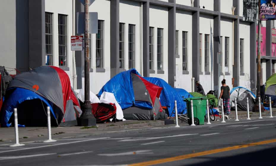 A homeless encampment just down the street from the MSC South homeless shelter in San Francisco, California.