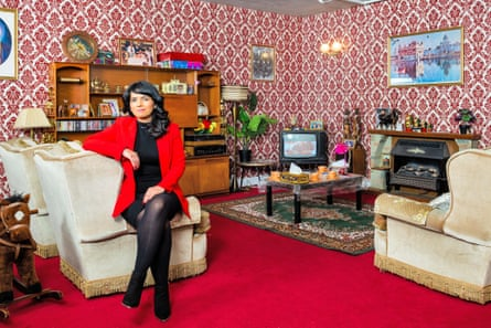 'This could be my nan's house' ... Dawinder Bansal in a re-creation of her parent's 1980s front room.