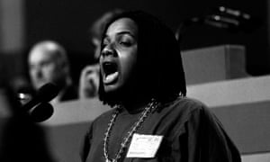 Diane Abbott speaking at the 1985 Labour party conference