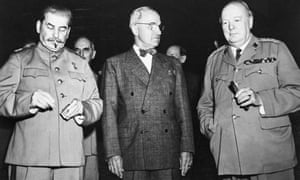 US president Harry Truman, with Joseph Stalin and Winston Churchill, launched the Marshall Plan to rebuild Europe and save it from Soviet domination.