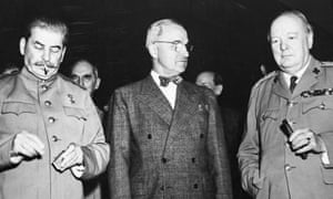 The big three: Joseph Stalin, Harry Truman and Winston Churchill pictured together before starting sessions of their history-making meeting in Berlin.