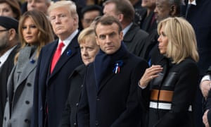 The Trump-Macrons with Angela Merkel at a Remembrance Day service in Paris.