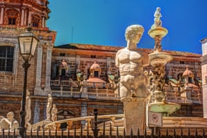 Famous fountain of shame on baroque Piazza Pretoria, Palermo.